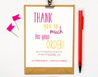 Business Thank You Cards INSTANT DOWNLOAD   Happily Handwritten  Business Thank You Card Template