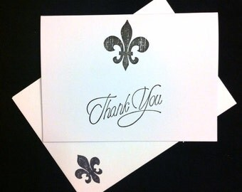 7 Fleur de Lis thank you cards. Blank note cards. New Orleans, Louisiana.