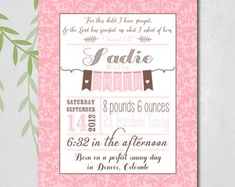 Gift for a baby girl - baby keepsake - nursery decor - nursery art - pink and brown nursery - birth announcement wall art