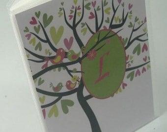 Baby Brag Book Baby Girl Photo Album Custom Name Baby Shower Gift Grandmas Brag Book Fuchsia Hot Pink lime green Bird Tree 4x6 pictures