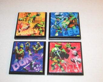 Teenage Mutant Ninja Turtle Set #1 Room Wall Plaques - Set of 4 TMNT Boys Room Decor - Ninja Turtles Wall Signs
