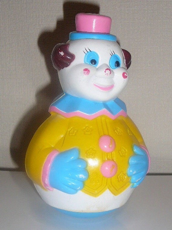 Vintage Roly Poly Clown Toy - 60s - il_570xN.513323461_bhfh