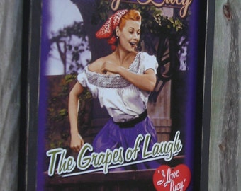 Wood Framed Reproduction Tin Sign, Vintage Lucy, The Grapes of Laugh, wine, 17 1/4 by 13 1/2 inches. Free Shipping