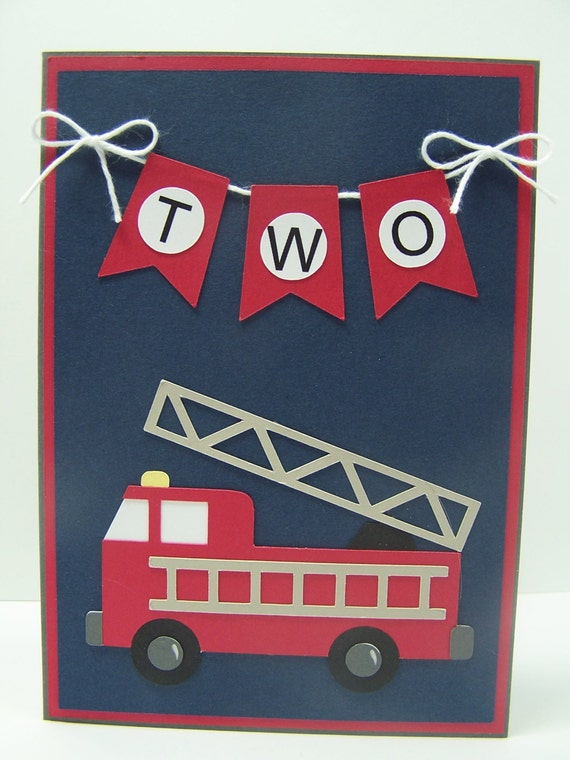 Personalized Birthday Card: Fire Truck Birthday Card First