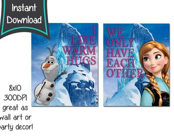 Frozen printables -set of 2, 8x10 printables - DIY - digital file