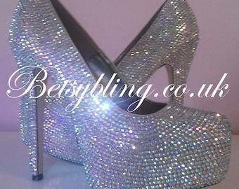 SALE **15% off original price** Crystal platform heels, Fully encrusted crystal shoes, Crystal Heels Free UK Delivery