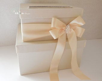Wedding card box / money box / card holder / gift card box / 2 Tier (Ivory & Cream)