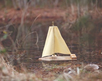 Toy/Photography Prop Sailboat- Simply Yellow