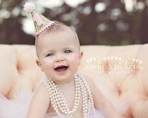 Ready to Ship Mini Glittery Birthday Girl Party Hat First Birthday, baby, Birthday, cake smash,  1st birthday, baby girl birthday, birthday