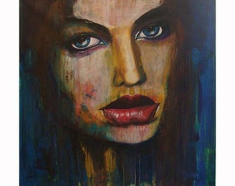 The Shadow of the wind, original painting of woman's face. Portrait acrylic on canvas. Available print on canvas limited edition