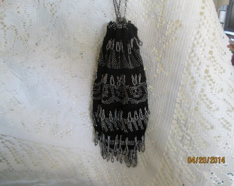 Antique Steel beaded Crochet Reticule Purse