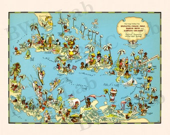 Pictorial Map of Panama Canal Zone - Puerto Rico - Virgin Islands