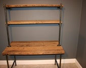 Shelving Unit - Industrial and Modern Reclaimed Wooden Computer Desk w/Storage Shelves Raw (naked) - Fast Shipping!