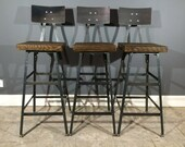 Set of 3 Rustic Bar Stools W/ Steel Backs - Made from Reclaimed Barn Wood - Industrial hand made stools
