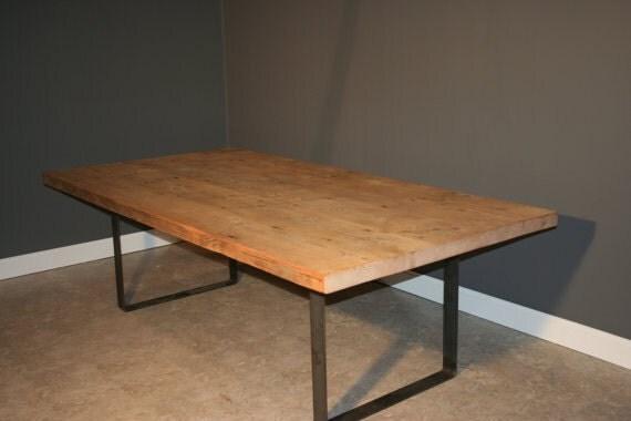 Items similar to 96\u0026quot;L x 40\u0026quot;W Farmhouse Modern \u0026 Reclaimed Wood Dining Table  Flat Black Steel