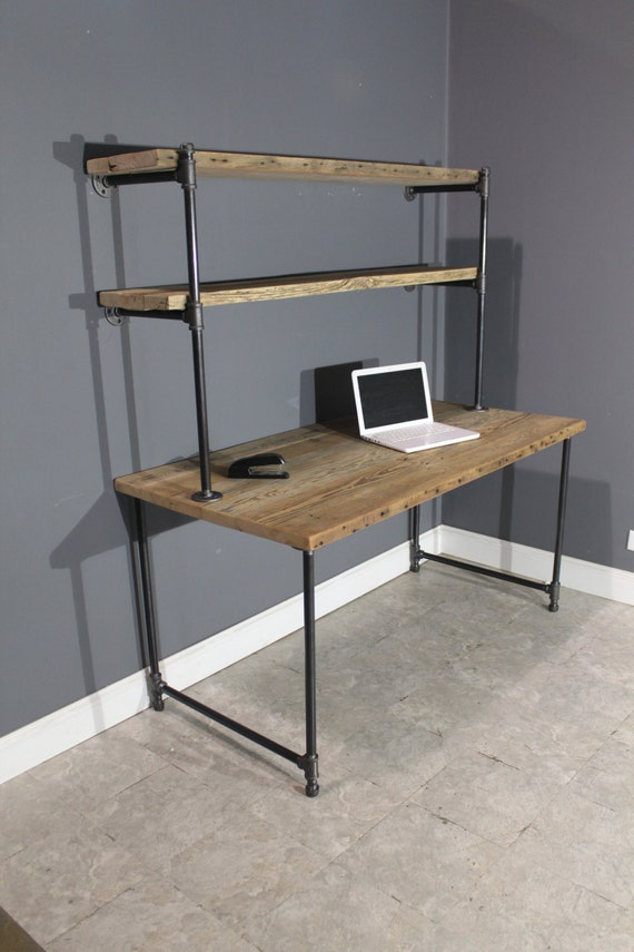 raw reclaimed computer desk w 2 shelves by. Black Bedroom Furniture Sets. Home Design Ideas