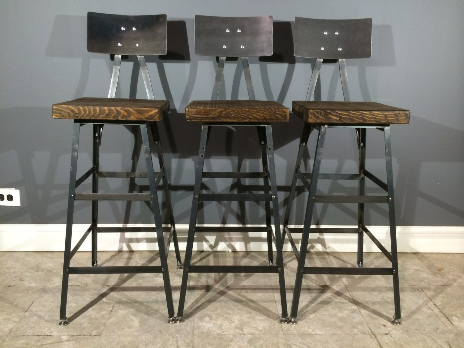 Set Of 3 Rustic Bar Stools W Steel Backs By