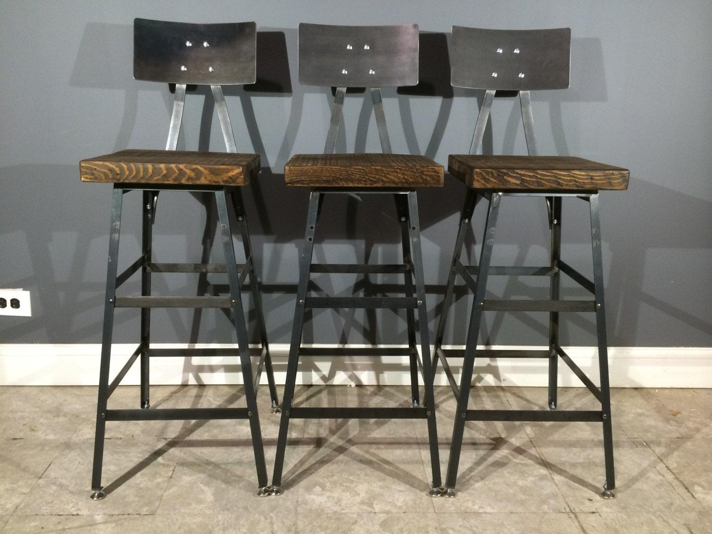 set of 3 rustic bar stools w steel backs by urbanwoodfurnishings. Black Bedroom Furniture Sets. Home Design Ideas