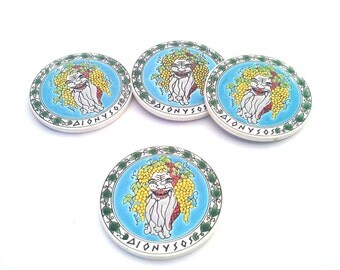Ceramic Coaster, Ceramic Art, Blue Coaster, Handpainted Ceramic, Greek Art, Dionysos