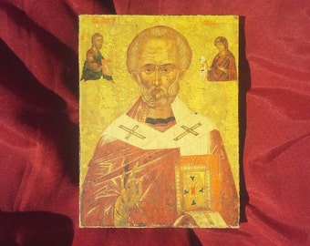 St Nicholas, Greek Orthodox Religious Art, Orthodox Icon, Christian Icon Print, Religious Wall Decor