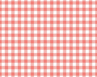 Coral Gingham craft  vinyl sheet - HTV or Adhesive Vinyl -  coral and white pattern vinyl   HTV220