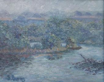 Original Oil Painting, Impressionist, Landscape, Fog,Cloudy Grays, Water, Cedar Key, Florida, 8 x 10, Best of Show