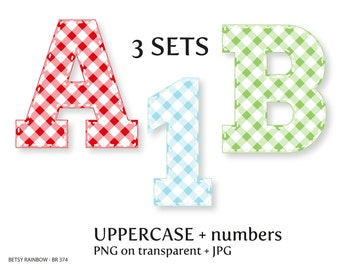 Gingham digital letters and number cliparts PNG, alphabet clip art, vichy, stitch, number clipart, Instant download, BR 374