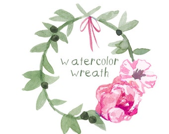 Peony Wreath Watercolor Floral Clip art Download Digital Clip Art Flower Clipart Flowers Watercolors Commercial Use Floral Clip Art