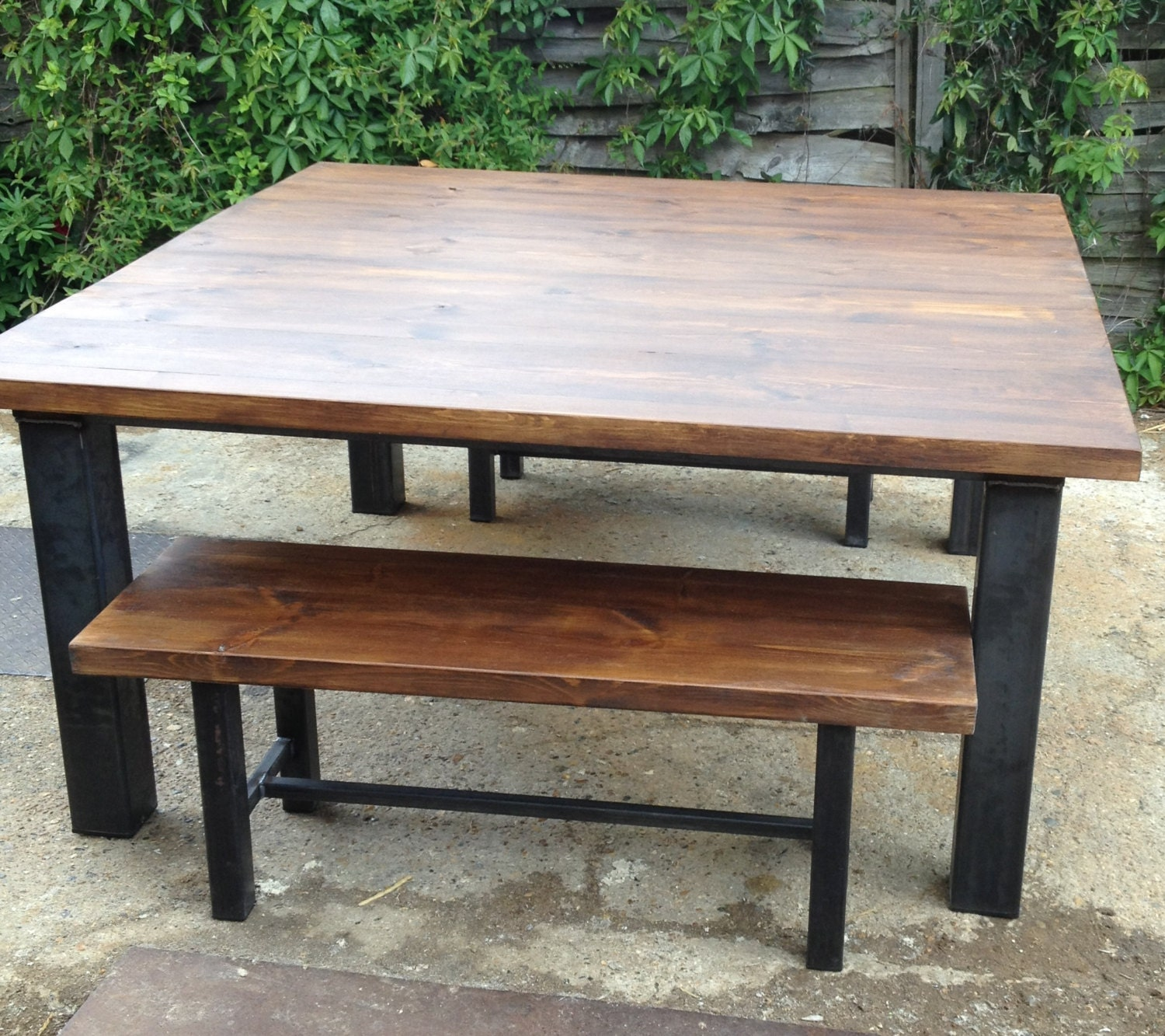Bench Dining Vintage Industrial Bespoke Dining Table Bench: Vintage Industrial Chic Rustic Dining Table And Bench By