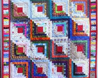 Feathered Log Cabin Scrap Quilt