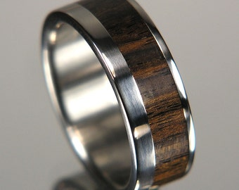 African Blackwood Wide Offset Inlay Titanium Wood Wedding Band
