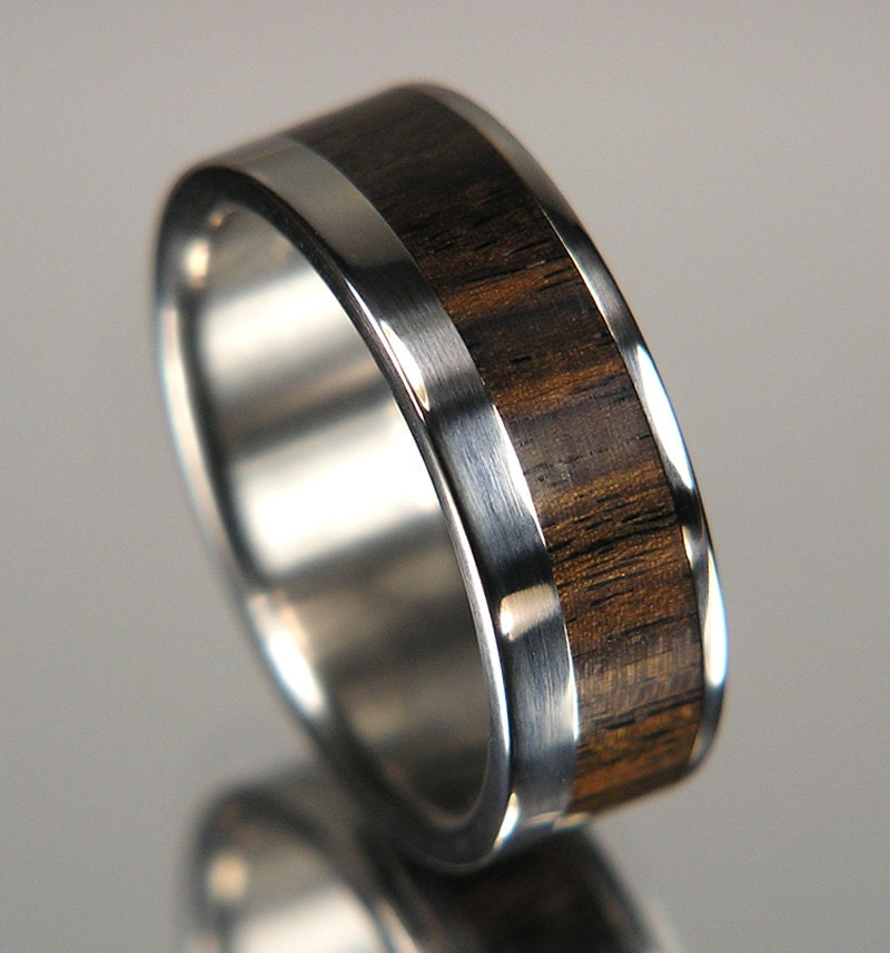 African Bands: African Blackwood Wide Offset Inlay Titanium Wood Wedding Band