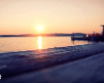 Dock, Lake Sunapee, New Hampshire, Sunset, Mountains, New England, New England Lake Docks, Cottage, Lake House--Live Free or Die