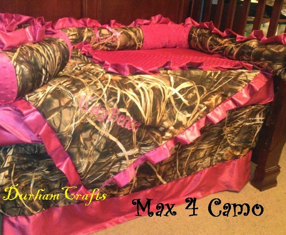 Custom Baby Girl Camo And Pink Ruffled Bedding Set With FREE