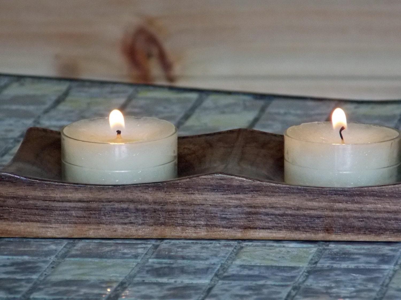 Wooden Tealight Candle Holder Rustic Wedding Decor Wooden Tea