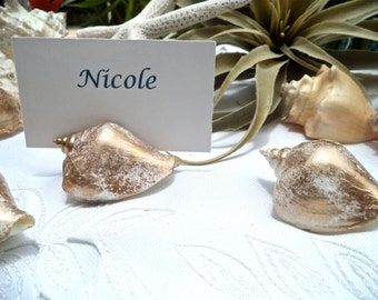 Shell Place Card Holder - Brushed in gold for an elegant look.  Set of 8