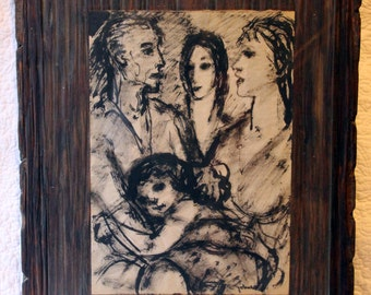 Vintage Art by Eleanore Johnson Driskell Ink Drawing Beautifully Framed