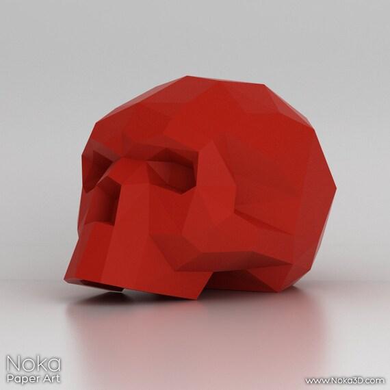 human skull 3d papercraft model downloadable diy by nokapaperart