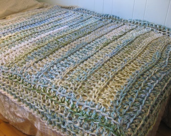 Blanket, crochet blanket in light blue, cream, light green, blue throw blanket