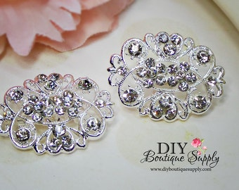 2 pcs Rhinestone Crystal Brooch Embellishment for Brooch Bouquet pins Crystal Wedding Supply Bridal sash pins shoe clips 35mm 622092