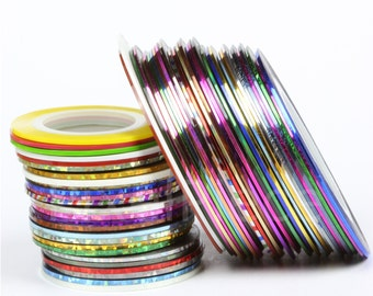 Nail Striping Tape Different Colors Adhesive Back Nail Tape Line Tape USA Seller Gold Silver Black Copper