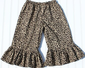 Girls Leopard Ruffle Pants