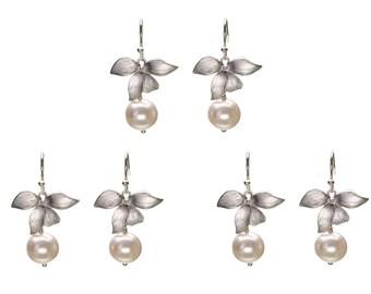 Pearl Orchid Earrings, Pearl Drop Earrings, Dangle Earrings, Wedding Jewelry, Bridesmaid Jewelry, Mother's Day