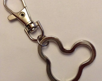 5 Mickey Head Split Ring Keychains with Swivel Lobster Clasp