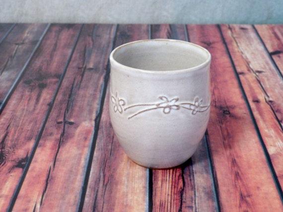 White slip trailed handleless mug red stoneware flowers - Handleless coffee mugs ...