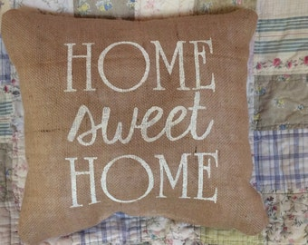Home Sweet Home Burlap Pillow Cover