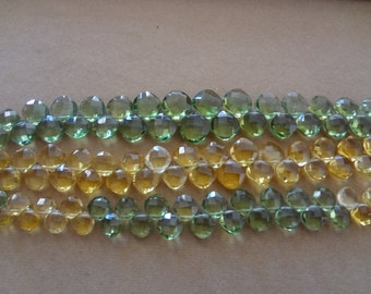 30 pcs -6to8 mm Hydro Peridot Cushion Biolette Faceted  strtand-AAA+ Quality