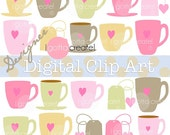 Coffe Mugs, Teacups and Teabag Clip Art