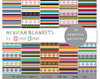 """Mexican Blankets Digital Paper Pack-colorful striped papers, scrapbooking, eps, jpeg, 12"""" x 12"""", instant download"""
