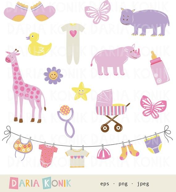 Baby Girl Clip Art Set Baby Clipart Mädchen pink Giraffe